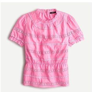 NWT J.Crew Daisy-chain Pink Peplum top (M)